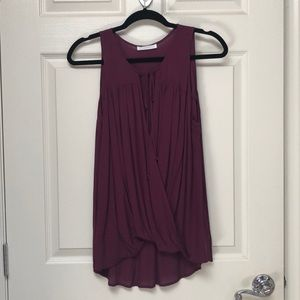 Lush Maroon or Cranberry top with tie